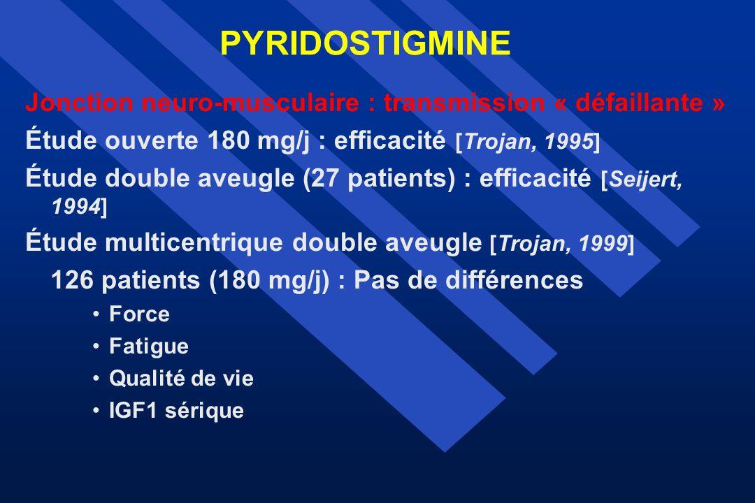 PYRIDOSTIGMINE Jonction neuro-musculaire : transmission « défaillante » Étude ouverte 180 mg/j : efficacité [Trojan, 1995]